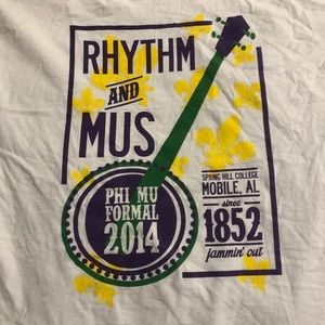 "Comfort Colors Phi Mu ""Rhythm & Mus"" Shirt (L)"